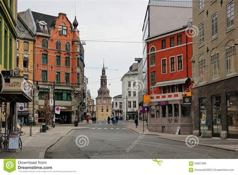 Street Of The Beautiful City Of Oslo Editorial Stock Image
