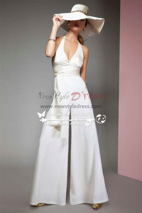 Sexy Halter Deep V-neck bridal jumpsuits with chiffon cape