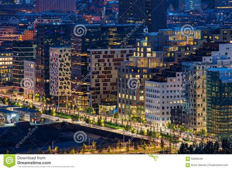 Modern Street In Oslo City Business Center, Norway Stock