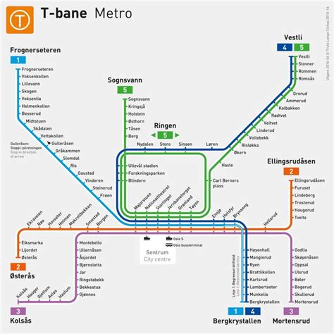 Official Map: T-Bane Map of Oslo, Norway, 2016 | Transit