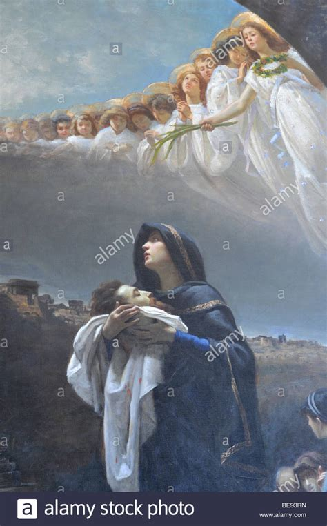 Mary with child, angels in heaven, painting, Vatican