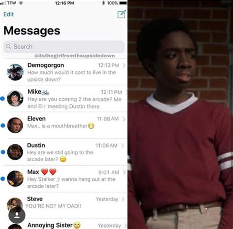 i've never seen his text thing before | Stranger things